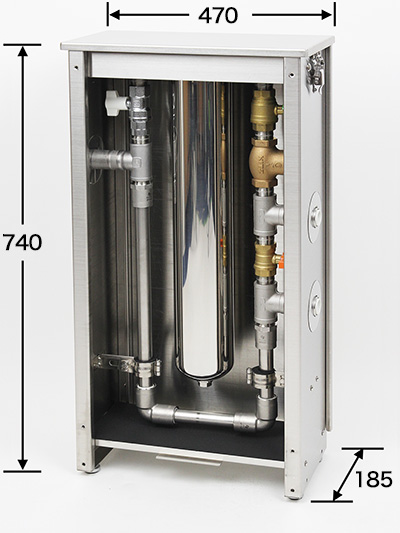 浄水器の全面パネルを開放して内部が見えるようにした写真